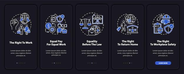Migrerende werknemers rechten onboarding mobiele app paginascherm met concepten