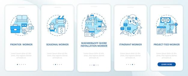 Migrerende werknemers typen het blauwe onboarding-scherm voor de mobiele app-pagina