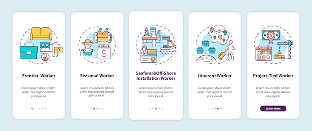 Migrerende werknemers typen onboarding mobiele app-paginascherm met concepten. immigranten doorlopen grafische instructies in 5 stappen.