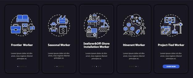 Migrerende werknemers typen onboarding-paginascherm voor mobiele apps met concepten