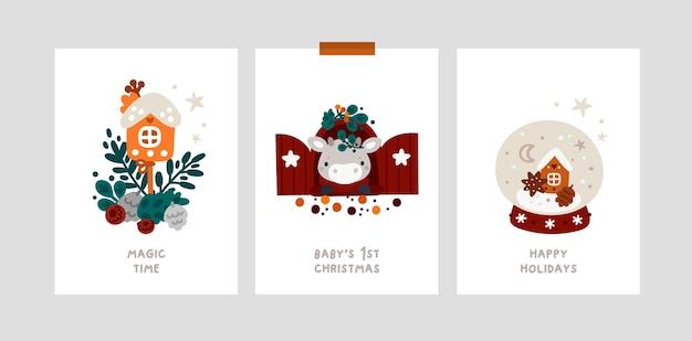 Mijlpaalkaarten voor baby kerstvakantie met kleine stier. feestelijke kerstkaarten