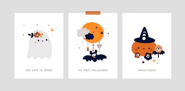 Mijlpaalkaarten voor halloween-feest voor kinderen. kinderkamer print met klein schattig spookje, pompoen