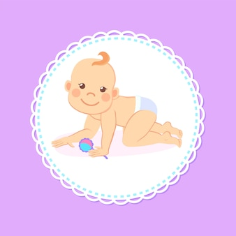 Mijlpalen baby van zes maanden staande op knieën