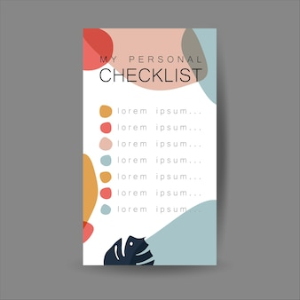 Mijn checklistsjabloon. abstracte moderne achtergrond met organische vormen.