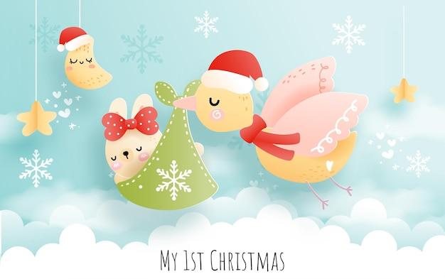 Mijn eerste kerst met babydier, ooievaar en babykonijn
