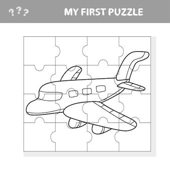 Mijn eerste puzzel- en kleurboek - een vliegtuig. werkblad. kunstspel voor kinderen