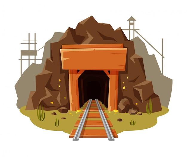 Mijn gouden illustratie op witte achtergrond met plaats voor uw tekst. gouden grot met houten banner en spoorlijn in cartoon-stijl,