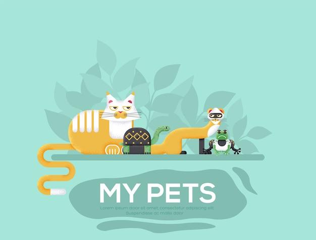 Mijn huisdieren flyer, tijdschriften, poster, boekomslag, banners. .