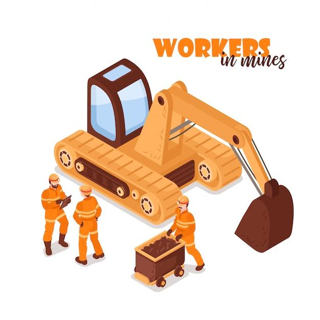Mijn isometrische achtergrond met beeld van gele graafwerktuig en mijnwerkerskarakters in eenvormig op lege illustratie als achtergrond