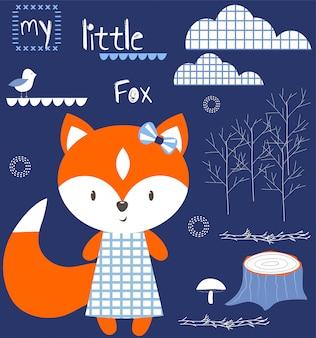 Mijn kleine vos babyshower illustratie