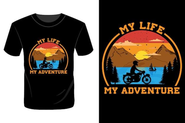 Mijn leven mijn avontuur t-shirtontwerp vintage retro