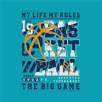 Mijn leven mijn regels basketbal sport grafisch voor de typografie van het t-shirtontwerp