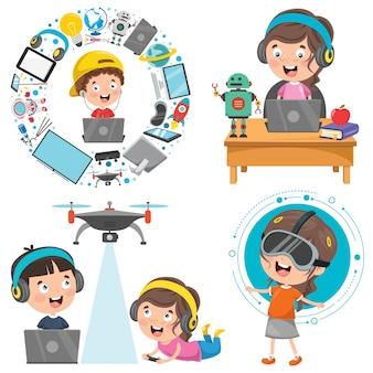Mijn lieve kinderen gebruiken technologische apparaten