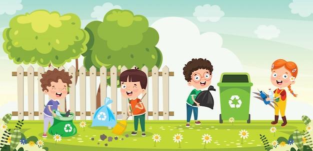 Mijn lieve kinderen, schoonmaken en recyclen van afval