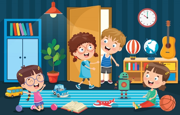 Mijn lieve kinderen spelen in de kamer