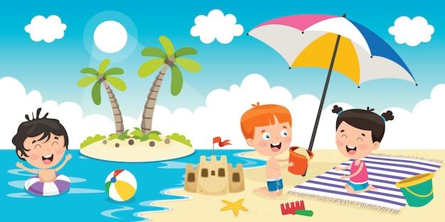 Mijn lieve kinderen spelen op het strand