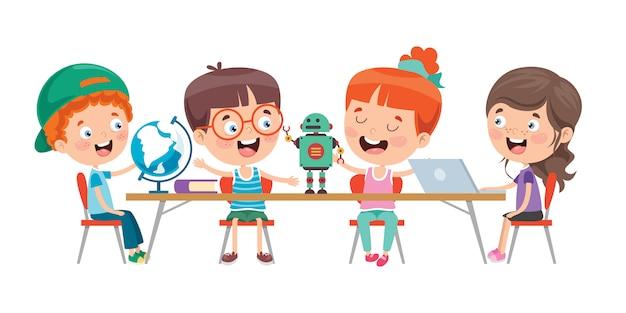Mijn lieve kinderen studeren in de klas