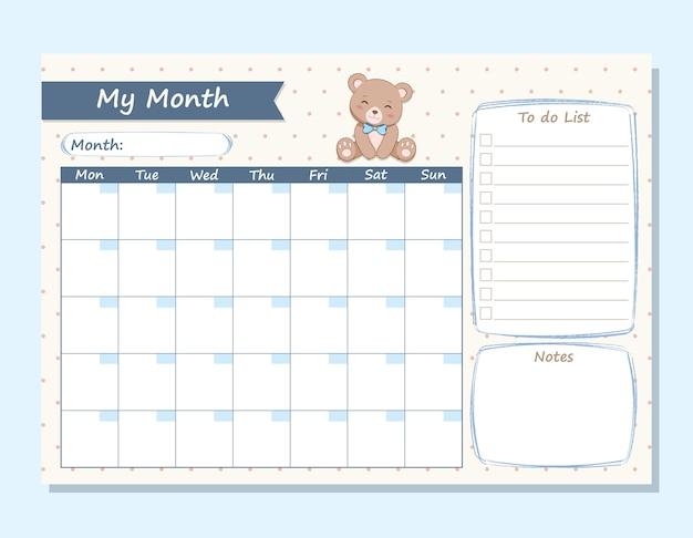 Mijn maand planner schattige beer