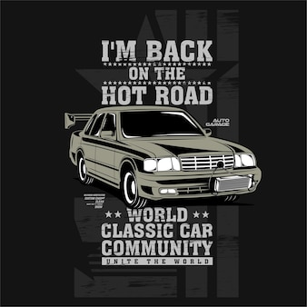 Mijn rug op de hete weg snelle motor klassieke auto illustratie