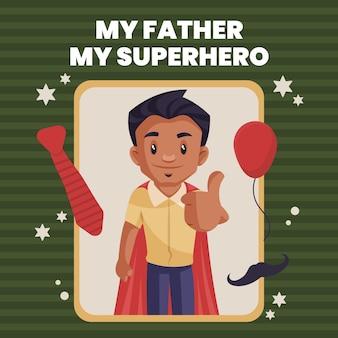 Mijn vader mijn superheld banner ontwerpsjabloon