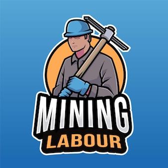 Mijnbouw arbeid logo sjabloon