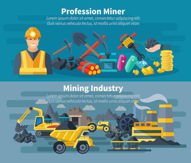Mijnbouw banner set