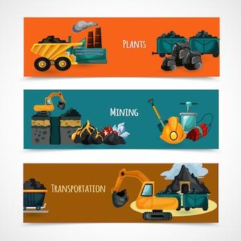 Mijnbouw banners set