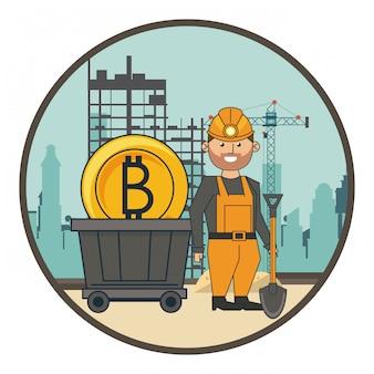 Mijnbouw bitcoin en arbeider met schop en wagen