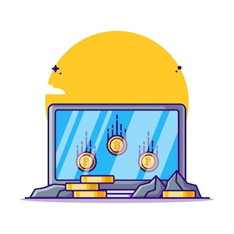 Mijnbouw bitcoin met laptop cartoon afbeelding