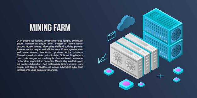 Mijnbouw boerderij concept banner, isometrische stijl