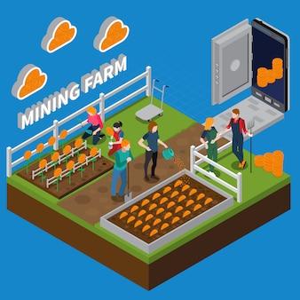 Mijnbouw boerderij isometrische samenstelling
