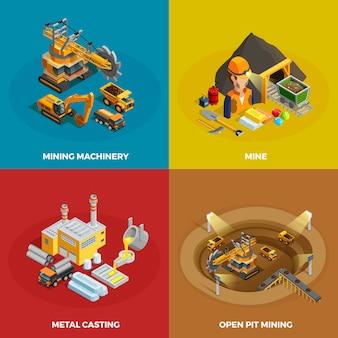 Mijnbouw concept icons set