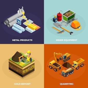 Mijnbouw concept isometrische icons set