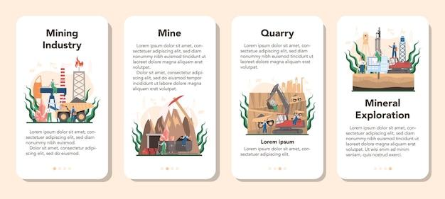Mijnbouw concept mobiele applicatie banner set