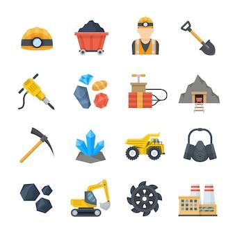 Mijnbouw en mijnbouw pictogrammen instellen in vlakke stijl