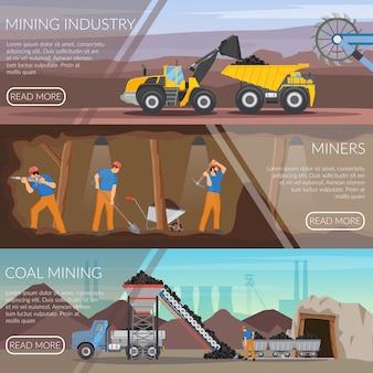 Mijnbouw horizontale platte banners