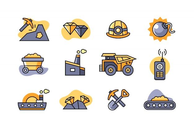 Mijnbouw icon set