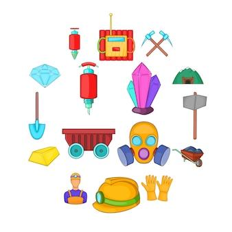 Mijnbouw iconen set, cartoon stijl