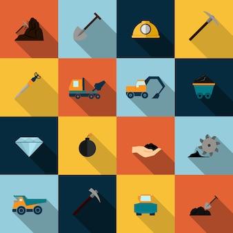 Mijnbouw icons set flat