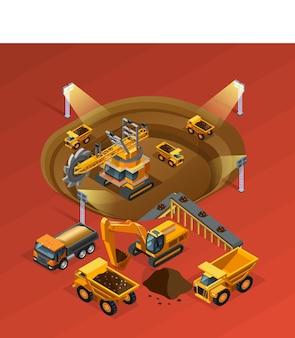 Mijnbouw isometrisch concept