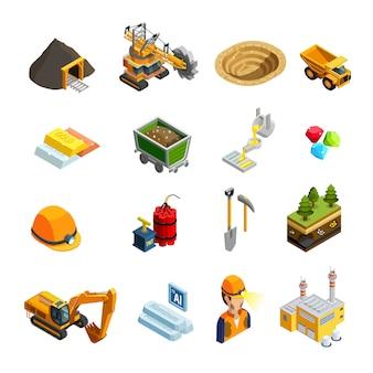 Mijnbouw isometrische pictogrammen instellen