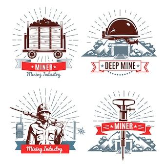 Mijnbouw logo en ontwerpelementen
