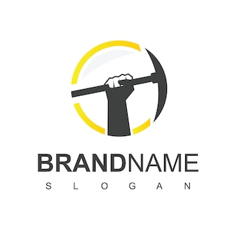 Mijnbouw logo ontwerp sjabloon vectorillustratie
