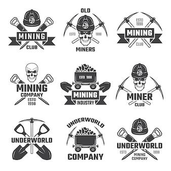 Mijnbouw logo set