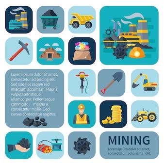 Mijnbouw pictogrammen