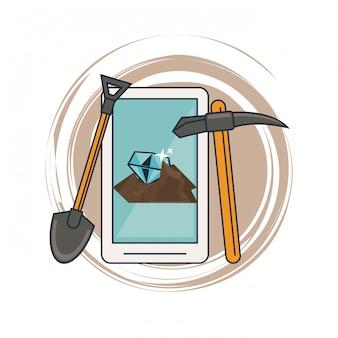 Mijnbouw van smartphone en gereedschappen