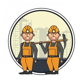 Mijnbouwarbeiders met helmen en pikhouwelen