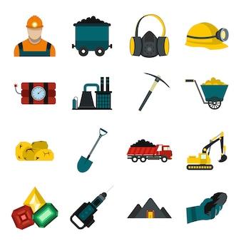 Mijnbouwelementen vlakke reeks met de bulldozer van de mijnwerkershamerslag