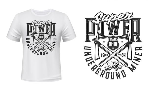 Mijnbouwindustrie t-shirt print met mijnwerkers pikhouwelen