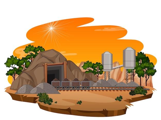Mijnbouwscène in zonsondergangtijd